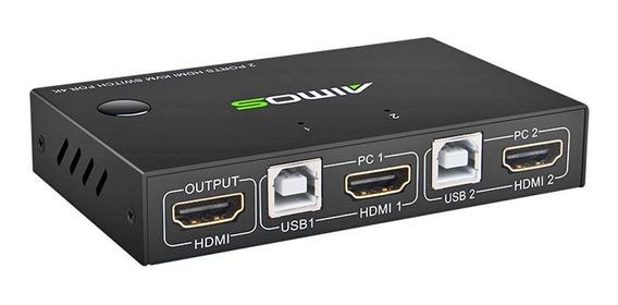 2 Porta Hdmi Usb Kvm 4k Switcher Splitter Para Monitor Mouse