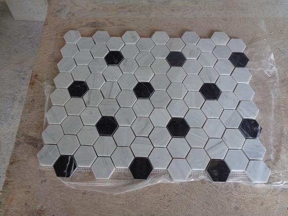 Malla De Hexagonos De Blanco Bego Con Negro Queretaro