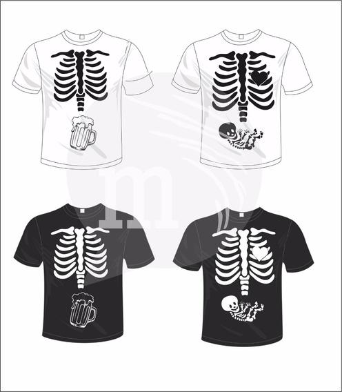Remera De Diseño Esqueleto Embarazados En Vinilo