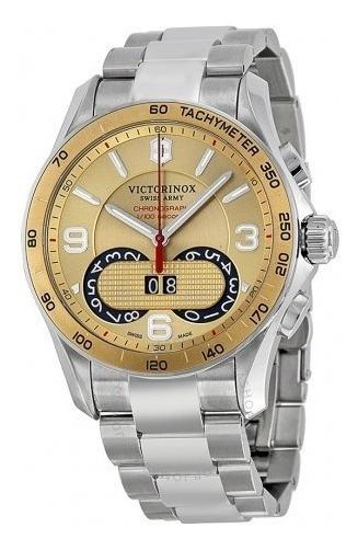Relógio Masculino Victorinox Cronógrafo Dourado/aço Suíço