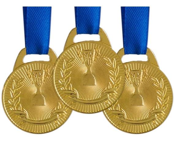 Pack C/ 10 Medalhas Ax Esportes 30mm H. Mérito Ouro