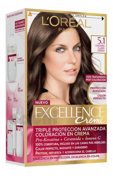 Tinta Loreal Excellence Creme Castaño Claro Cenizo 5.1