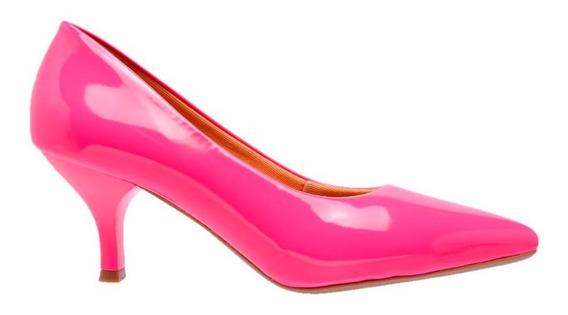 Sapato Scarpins Feminino Verniz Neon Salto Baixo Fino 5 Cm