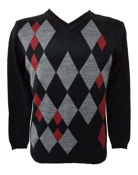 Blusa De Frio Grossa Suéter Tricô Masculina Losângo Escocês