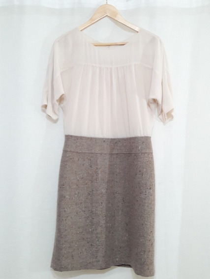 Vestido Mujer Semiformal Falda Tipo Lanilla Blusa Gasa T/38