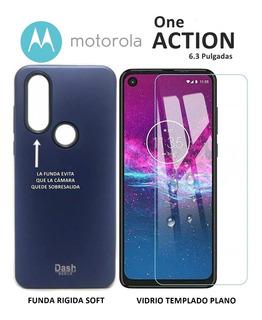 Funda Rigida + Templado Plano Motorola One Action Rosario
