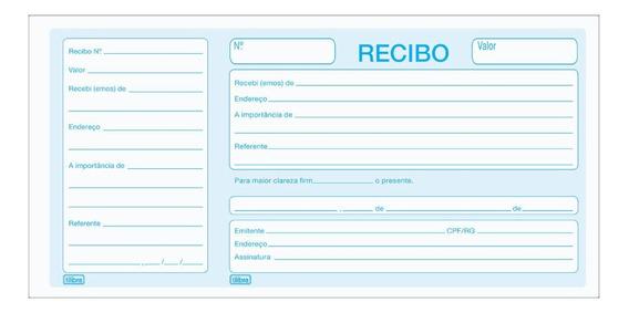Recibo Comercial Com Canhoto 100 Folhas Tilibra