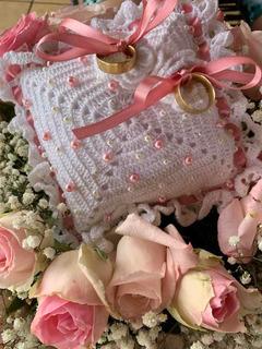 Almofada Porta Alianças Em Crochê. Casamento, Dama De Honra