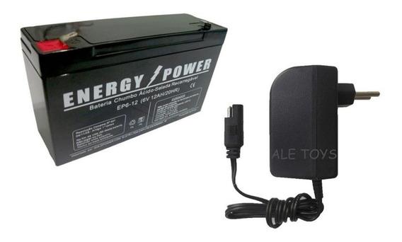 Carregador 6v + Bateria 6v 12ah P/ Moto Elétrica Bandeirante