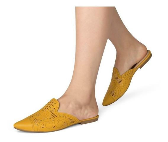 Mule Feminino Tamanco Rasteira Qualidade Dakota Amarelo
