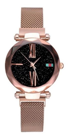 Relogio - Feminino Céu Estrelado - Luxo - Pulseira Magnetica - Promoção
