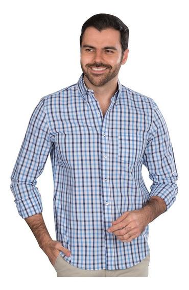 Camisas Hombre Cuadros Azul Casual Slim Fit Moda 90102