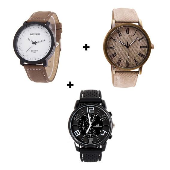 Kit Com 3 Relógios Masculinos Design Único Casual Moderno