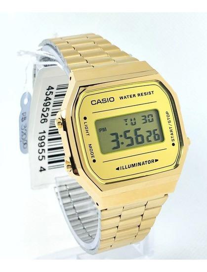 Relógio Casio Digital Vintage Dourado A168wegm-9df Garantia