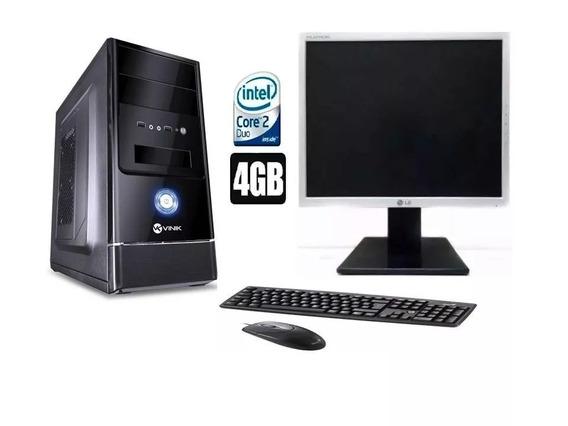 Pc Cpu Completo Core 2 Duo 4gb Hd 320+ Monitor 17lcd Wifi*