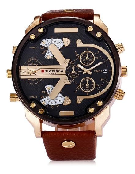 Relógio Shiweibao 3137 Gold Diesel Masculino Pulseira Couro