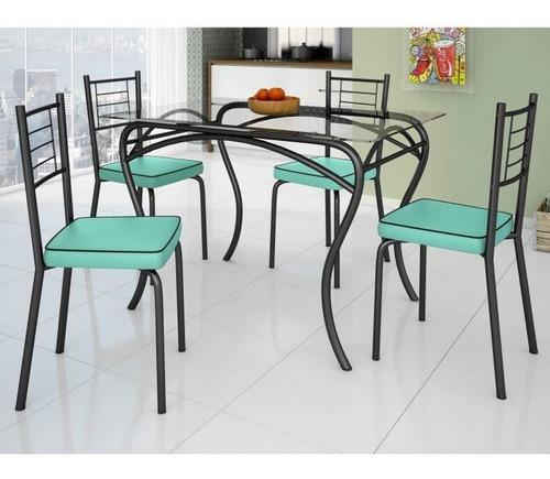 Imagem 1 de 3 de Conjunto De Mesa Tampo Vidro Lion Com 4 Cadeiras Jd