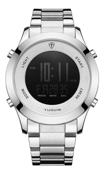 Relógio Masculino Tuguir Prata Digital Inoxidável Novo