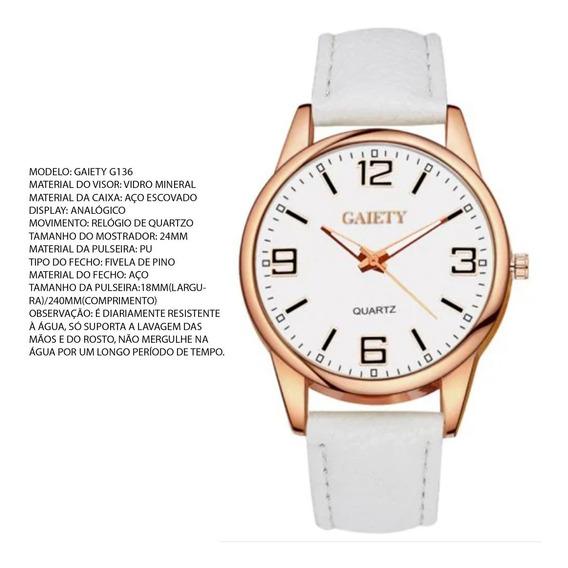 Relógio Barato Feminino, Gaiety, Com Pulseira Branca, Novo