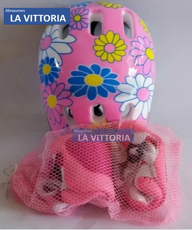 Imagen 1 de 4 de Protecciones Casco Para Niñas  Patinaje  Tamaño Regulable