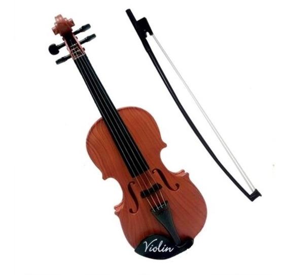 Mini Violino Infantil Acustico Brinquedo 4 Cordas E Arco