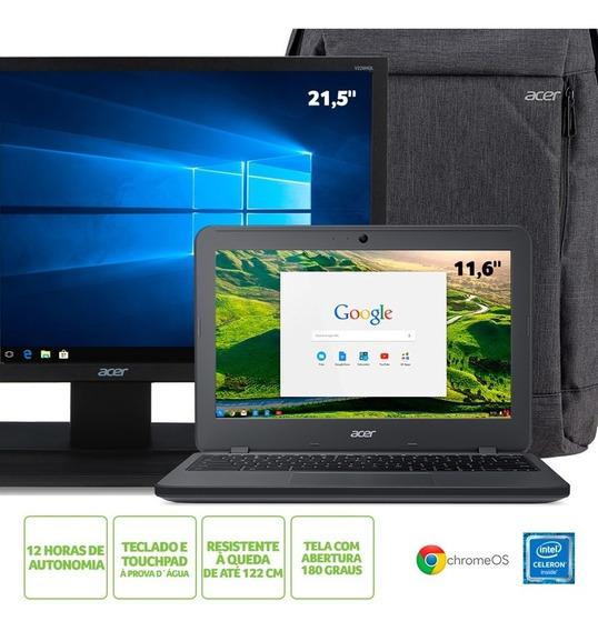 Kit: Chromebook Acer N7 C731-c9da Intel Celeron® 4gb Ram 32