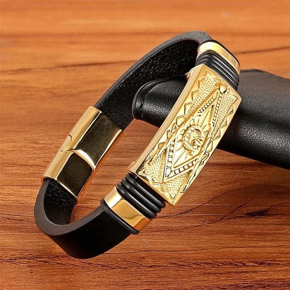 Pulseira Bracelete Maçom Dourado Couro + Aço Inoxidável