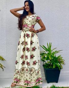 Vestido Feminino Longo Com Cinto Retro Moda Evangélica