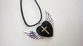 Colar Coração Alado Asas Dark Gótico Frete Grátis Crucifixo
