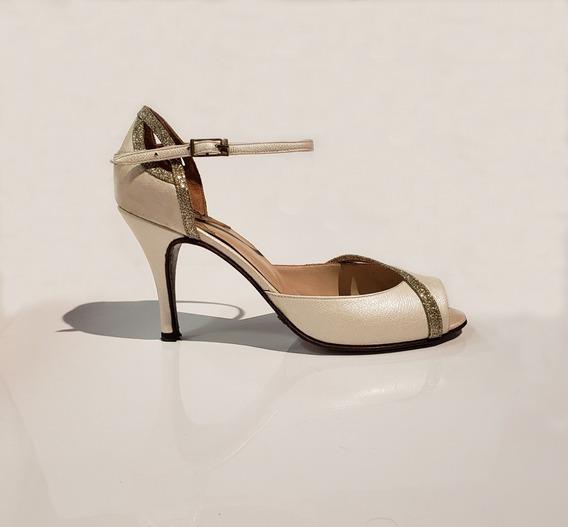 Zapatos De Baile Banco Perlado Lame Platino Taco Alto