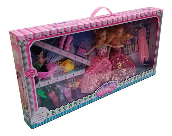 Muñeca Tipo Barbie Con 9 Vestidos Y Accesorios Juguete