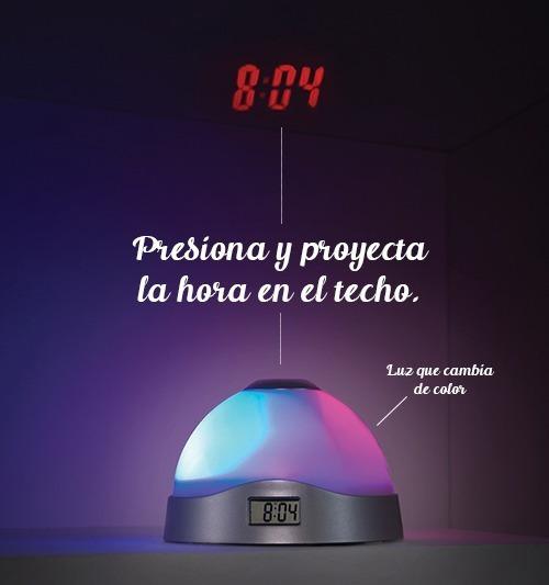 Despertador Con Proyector De Hora Y Luz De Colores.