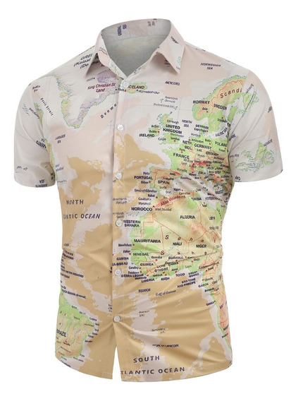 Mundial Mapa Patrón Botón Abajo Camisa S -2xl