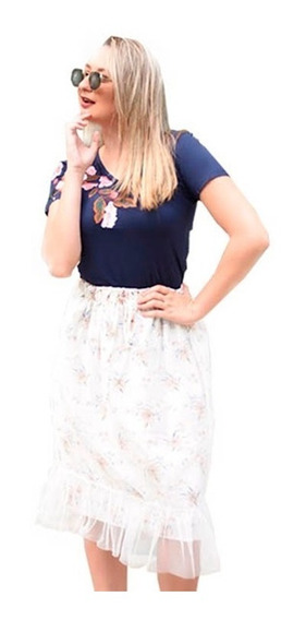 Saia Midi Tule Floral Godê Peplum Moda Evangelica Blogueira