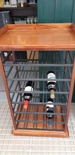 Mueble Vinoteca Para 35 Vinos, Hierro Y Cedro, Laqueado.
