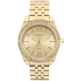 Relógio Euro Feminino Pedras Dourado