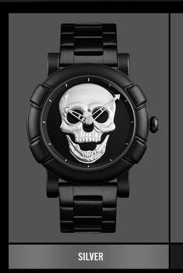 Relógio Masculino Caveira 3d Prata Esportivo Luxo