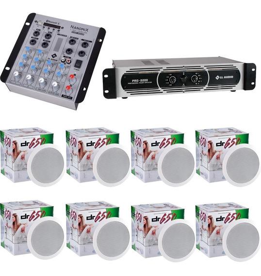 Som Ambiente Mesa Bluetooth Nca Potência Pro2200 8 Arandelas