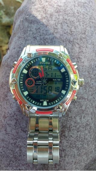 Relógio Vermelho E Cinza Usado