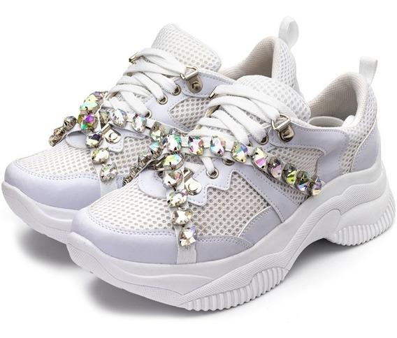 Tênis Sneakers Chuncky Recortes Napa Creme Detalhes Pedras