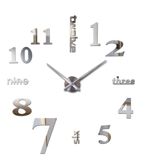 Reloj Pared 3d Grande Minimalista Acero 1.20 Mts. Diámetro