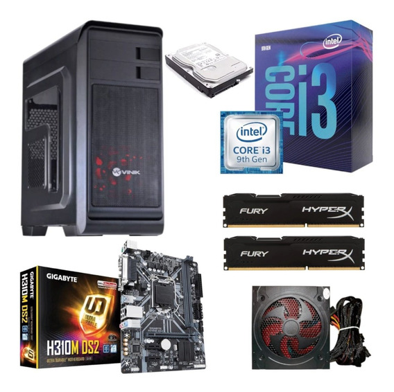 Kit Hunter I3 9100f H310m Ds2 Hyperx Hx 16gb Bc500 Hd 500gb