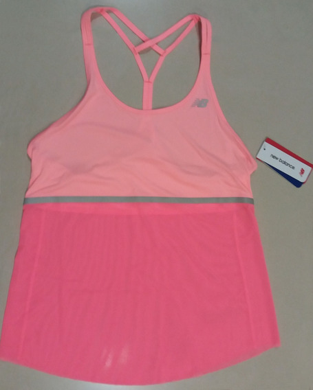 New Balance Remera Musculosa Fitness Gym Trainning Tela Dry Fit Importada Usa Original Mujer Rosa Salmon