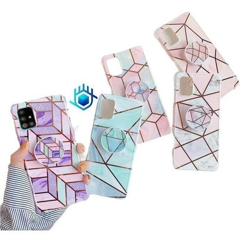 Imagen 1 de 10 de Funda Galaxy Marmol +pop Geometria Dama Mujer Protector Case