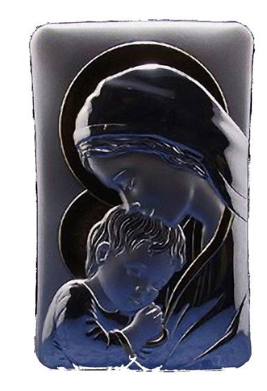 Cuadro Sagrada Familia O Virgen Con Nino Plata Y Oro 15x23cm