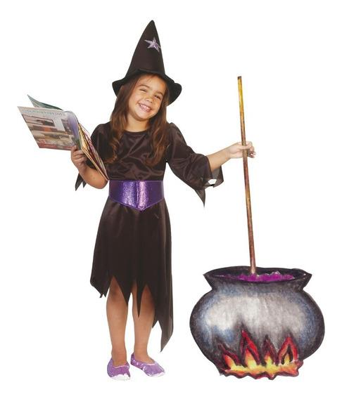 Disfraz De Bruja Nena Con Sombrero Halloween Talle 4