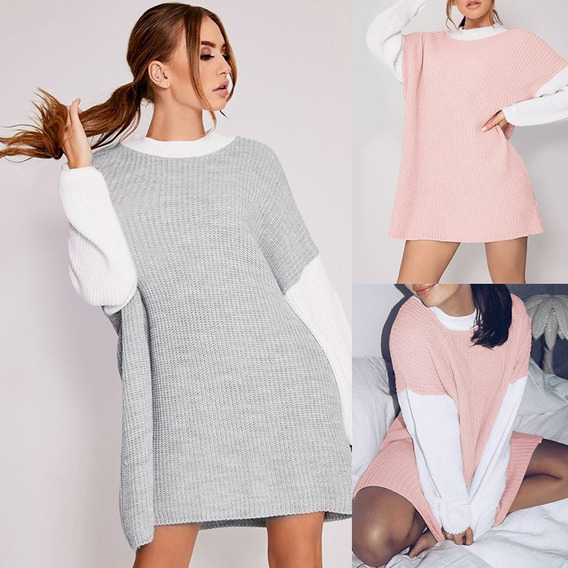 Fashion Women Knitted Dress Sweater Contrast Color Long