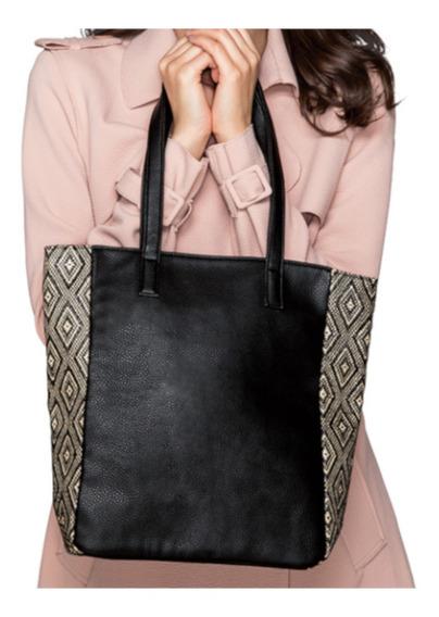 Bolsa Macy Tote Bag Preta Estampada