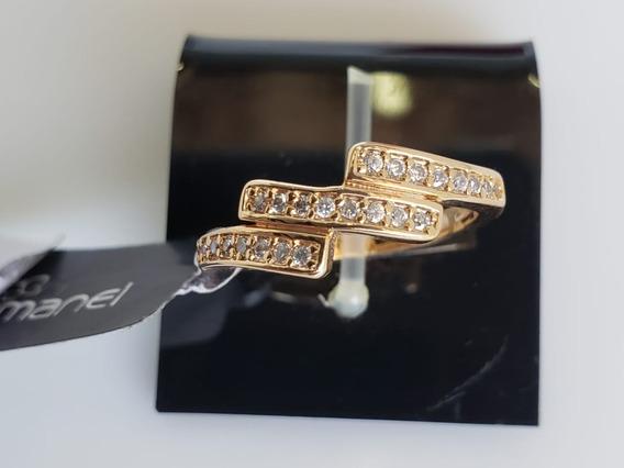 Anel Rommanel Banhado A Ouro Zircônias - Noivado