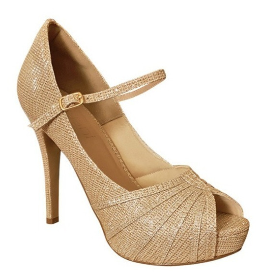 Sapato Boneca De Noiva Madrinha Debutante Ouro Gliter Salto